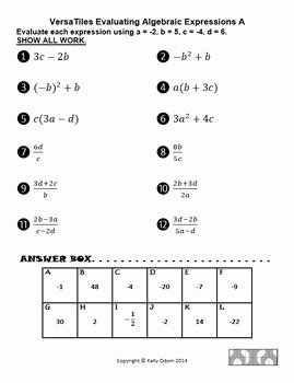 Evaluating Algebraic Expressions Worksheet Pdf Luxury Evaluating Algebraic Expressions and formulas for