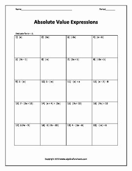 Evaluating Algebraic Expressions Worksheet Pdf Luxury Evaluating Algebraic Expressions with Absolute Value