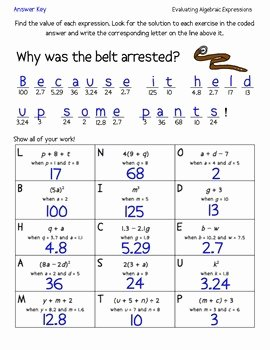 Evaluating Algebraic Expressions JokeRiddle Worksheet