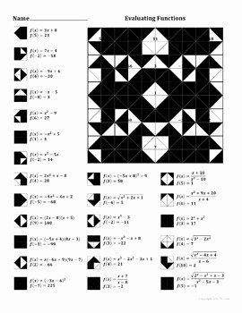 Evaluating Functions Worksheet Algebra 1 Awesome Evaluating Functions Color Worksheet by Aric Thomas