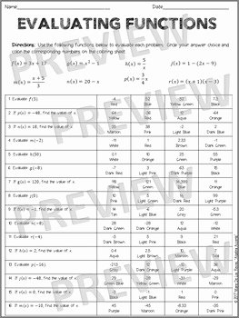 Evaluating Functions Worksheet Algebra 1 Beautiful Evaluating Functions Coloring Activity by Algebra Accents
