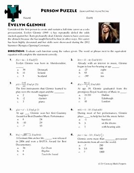 Evaluating Functions Worksheet Algebra 1 Inspirational Person Puzzle Evaluating Functions Evelyn Glennie