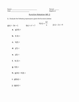 Evaluating Functions Worksheet Algebra 1 Lovely Function Notation Worksheet 2 by Camfan54