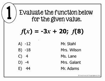 Evaluating Functions Worksheet Algebra 1 Luxury Evaluating Functions Math Lib Activity by All Things