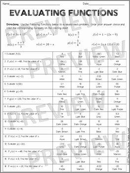 Evaluating Functions Worksheet Pdf Beautiful Evaluating Functions Coloring Activity by Algebra Accents