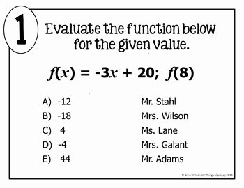 Evaluating Functions Worksheet Pdf Beautiful Evaluating Functions Math Lib Activity by All Things