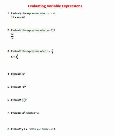 Evaluating Variable Expressions Worksheet Best Of Evaluating Expressions Worksheet