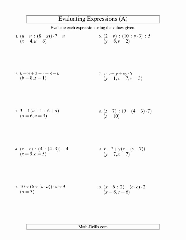 Evaluating Variable Expressions Worksheet Inspirational Algebra Worksheet Evaluating Five Step Algebraic