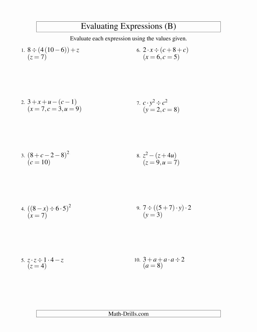 Evaluating Variable Expressions Worksheet Lovely Evaluating Four Step Algebraic Expressions with Three