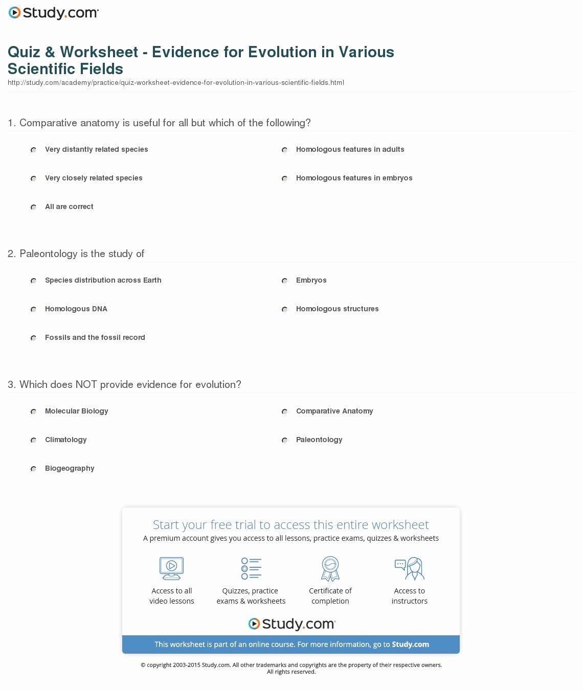 Evidence for Evolution Worksheet Elegant Quiz & Worksheet Evidence for Evolution In Various