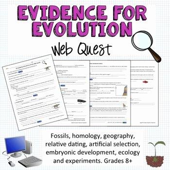 Evidence Of Evolution Worksheet New Evidence for Evolution Webquest