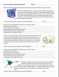 Evolution and Natural Selection Worksheet Fresh Darwins Natural Selection Worksheet Evolution