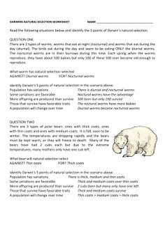 Evolution and Natural Selection Worksheet New Darwin S Natural Selection Worksheet School