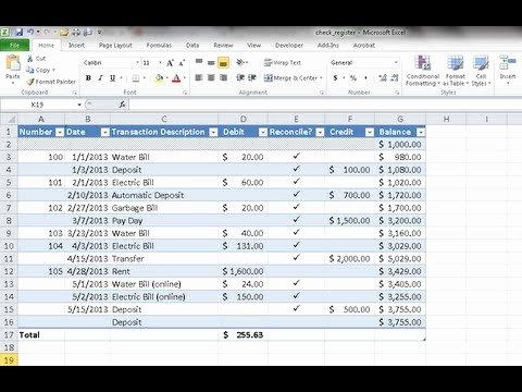 Excel Checkbook Register Budget Worksheet Elegant Create A Checkbook Register In Excel
