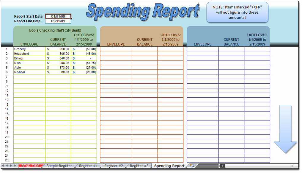 Excel Checkbook Register Budget Worksheet New Envelopes Check Register Spreadsheet Moneyspot