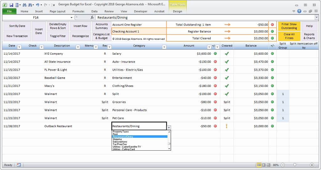 Excel Checkbook Register Budget Worksheet Unique Excel Bud Spreadsheet and Checkbook Register software