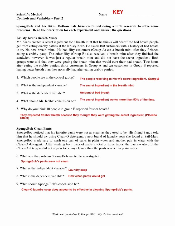 Experimental Design Worksheet Answers Elegant Experimental Design Worksheet Scientific Method Answer Key