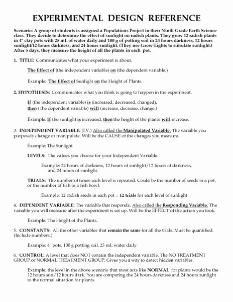 Experimental Design Worksheet Answers Fresh Experimental Design Reference Worksheet for 9th 12th