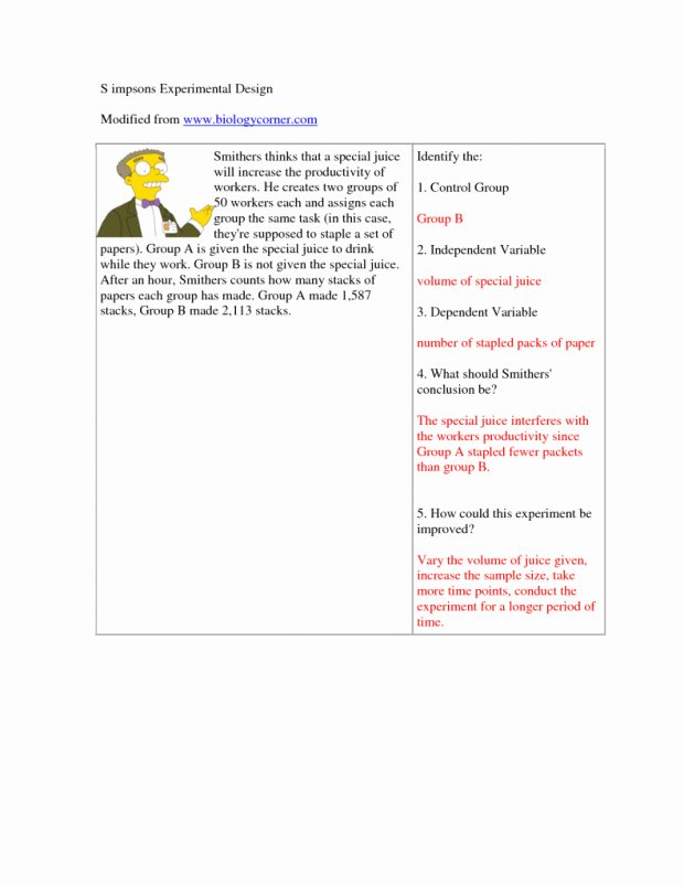 Experimental Design Worksheet Scientific Method Awesome Scientific Method Worksheet Answers