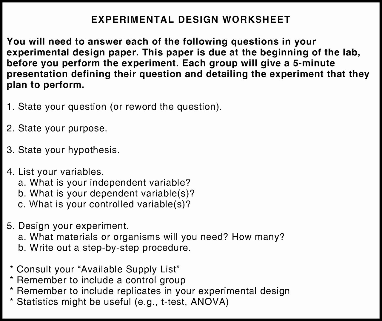 Experimental Design Worksheet Scientific Method Fresh Guided Inquiry Labs Using Bean Beetles for Teaching the
