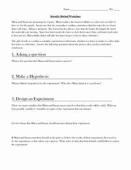 Experimental Design Worksheet Scientific Method Fresh Scientific Method Practice Worksheet