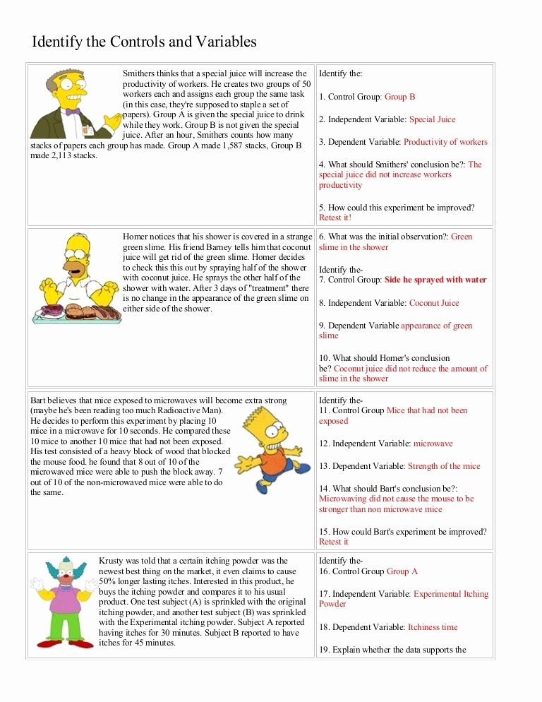 Experimental Variables Worksheet Answers New Bart Simpson Controls and Variables with Answers