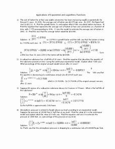 Exponential Function Word Problems Worksheet Awesome Applications Of Exponential and Logarithmic Functions