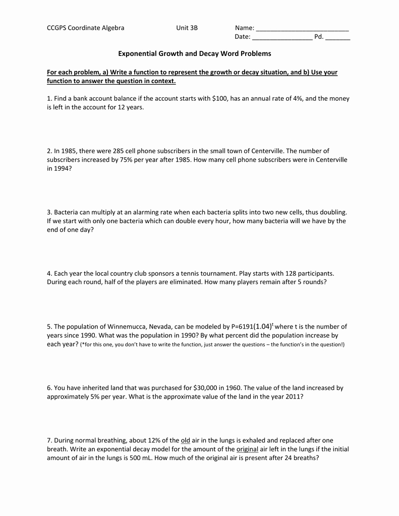 Exponential Function Word Problems Worksheet Elegant 11 22 13 Application Problems Extra Practice