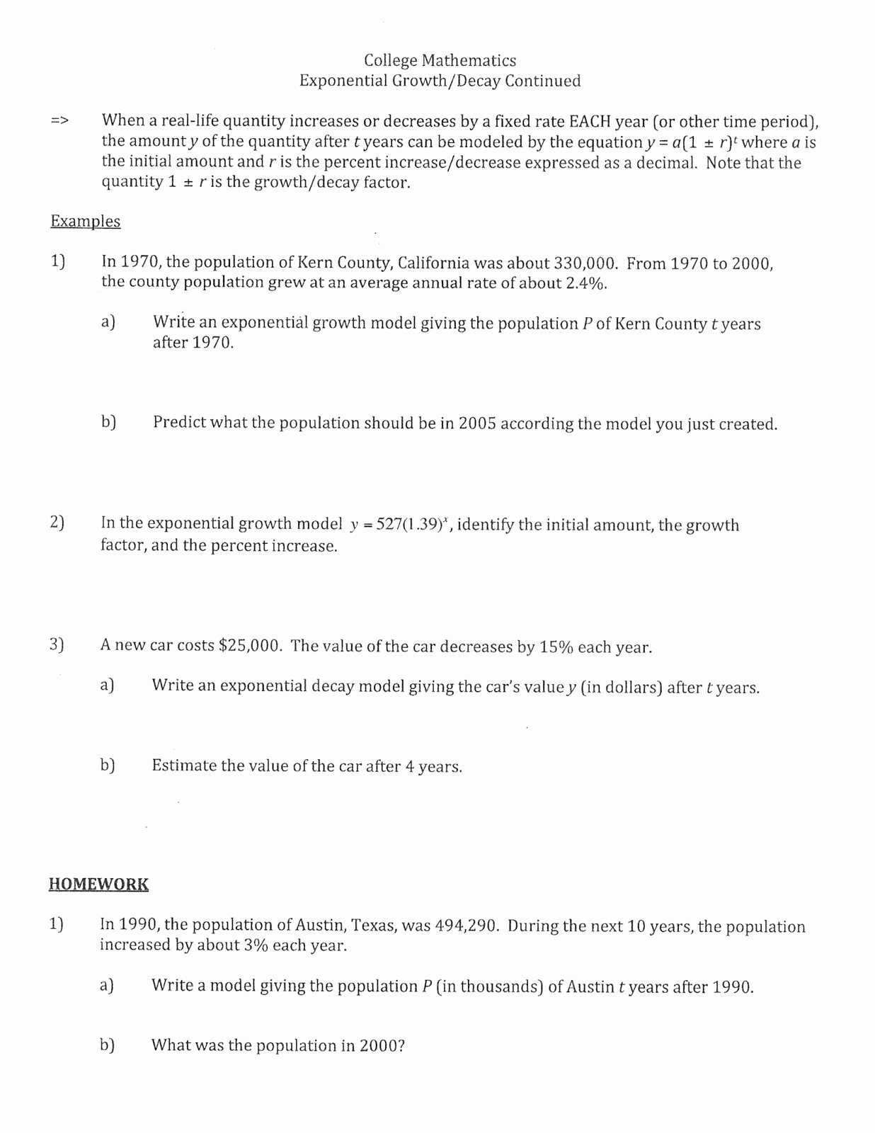 Exponential Function Word Problems Worksheet Lovely Mr Suominen S Math Homepage February 2013