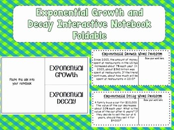 Exponential Function Word Problems Worksheet Luxury Exponential Growth and Decay Interactive Notebook Foldable