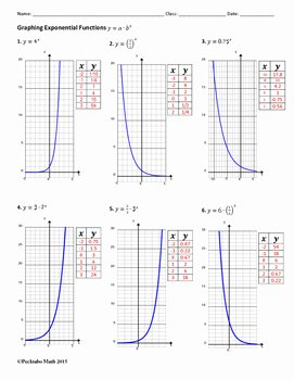Exponential Functions Worksheet Answers Beautiful Graphing Exponential Functions Algebra Worksheet by