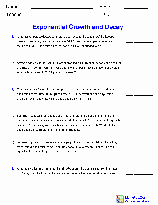 Exponential Growth and Decay Worksheet Beautiful Calculus Worksheets
