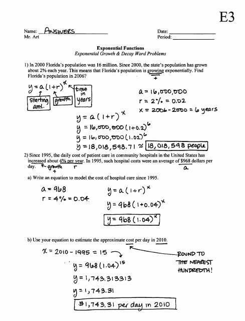 Exponential Growth and Decay Worksheet Beautiful Exponential Growth and Decay Worksheet Algebra 1 Answers
