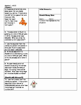 Exponential Growth and Decay Worksheet Best Of Free Exponential Growth and Decay Student Worksheet