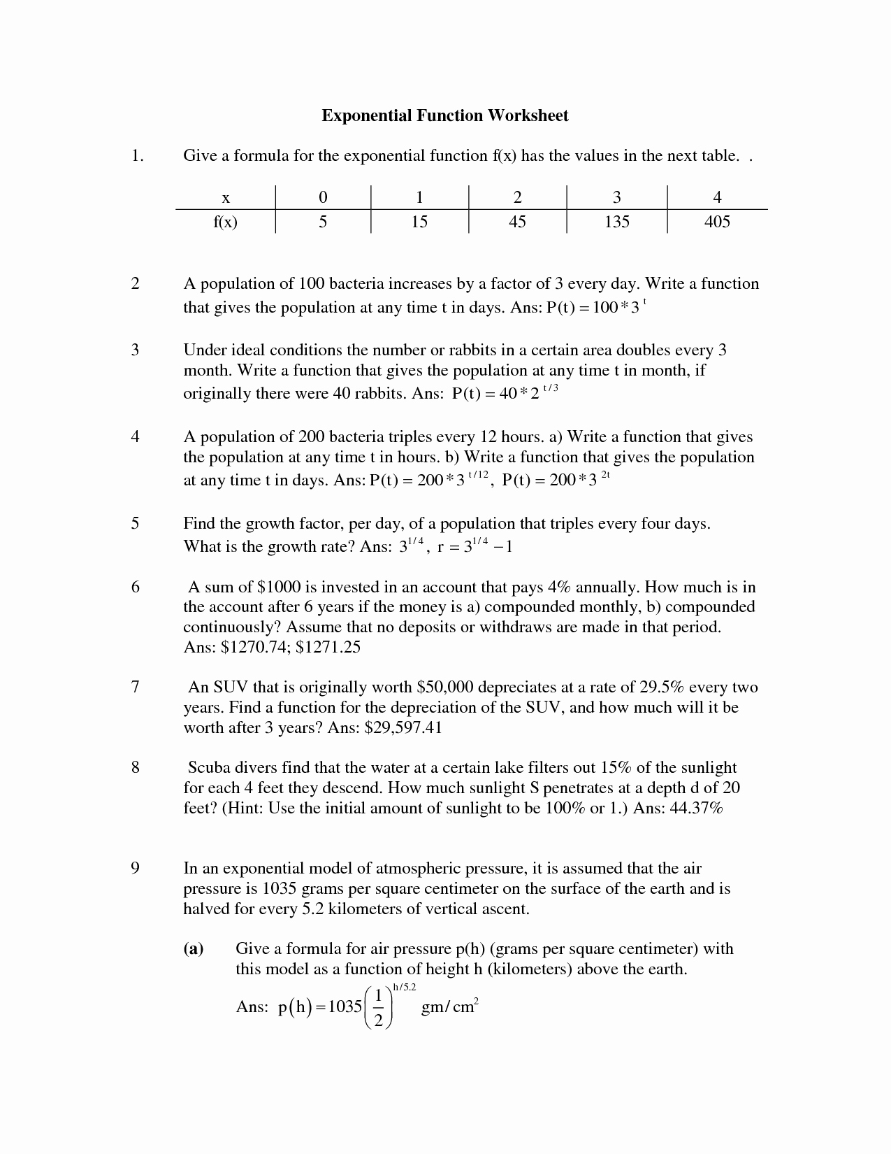 Exponential Growth and Decay Worksheet Best Of Simple Exponential Worksheet