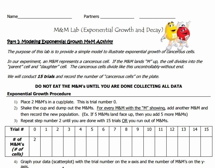 Exponential Growth and Decay Worksheet Fresh Hands On Simulation Of Exponential Growth & Decay with M&m