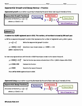 Exponential Growth and Decay Worksheet Inspirational Exponential Growth and Decay Algebra Review Practice by