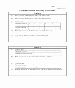 Exponential Growth and Decay Worksheet Lovely Worksheet to Ac Pany Exponential Growth and Decay