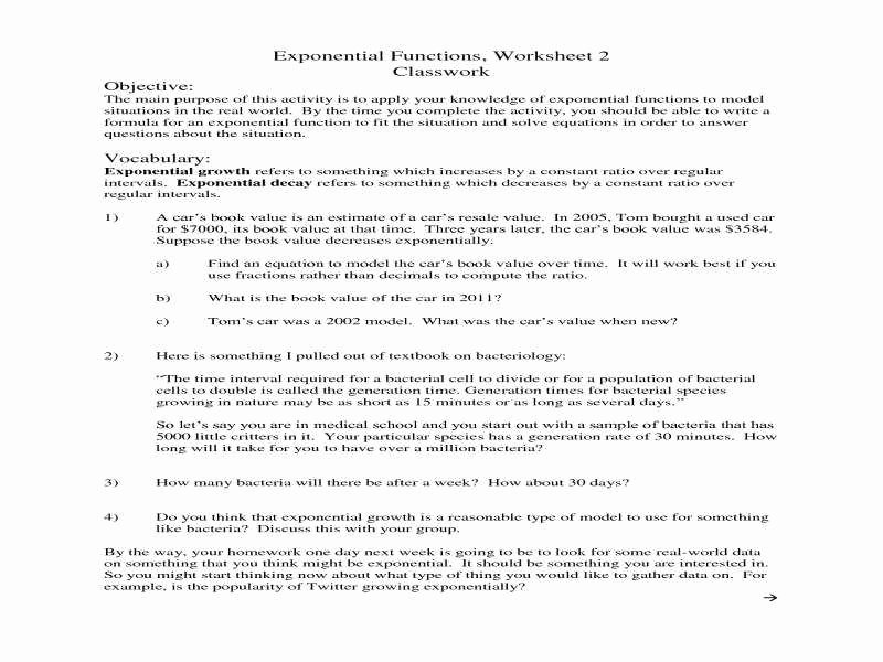 Exponential Growth and Decay Worksheet Luxury Exponential Growth and Decay Worksheet