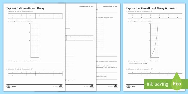 Exponential Growth and Decay Worksheet New Exponential Growth and Decay Worksheet Core Certificate