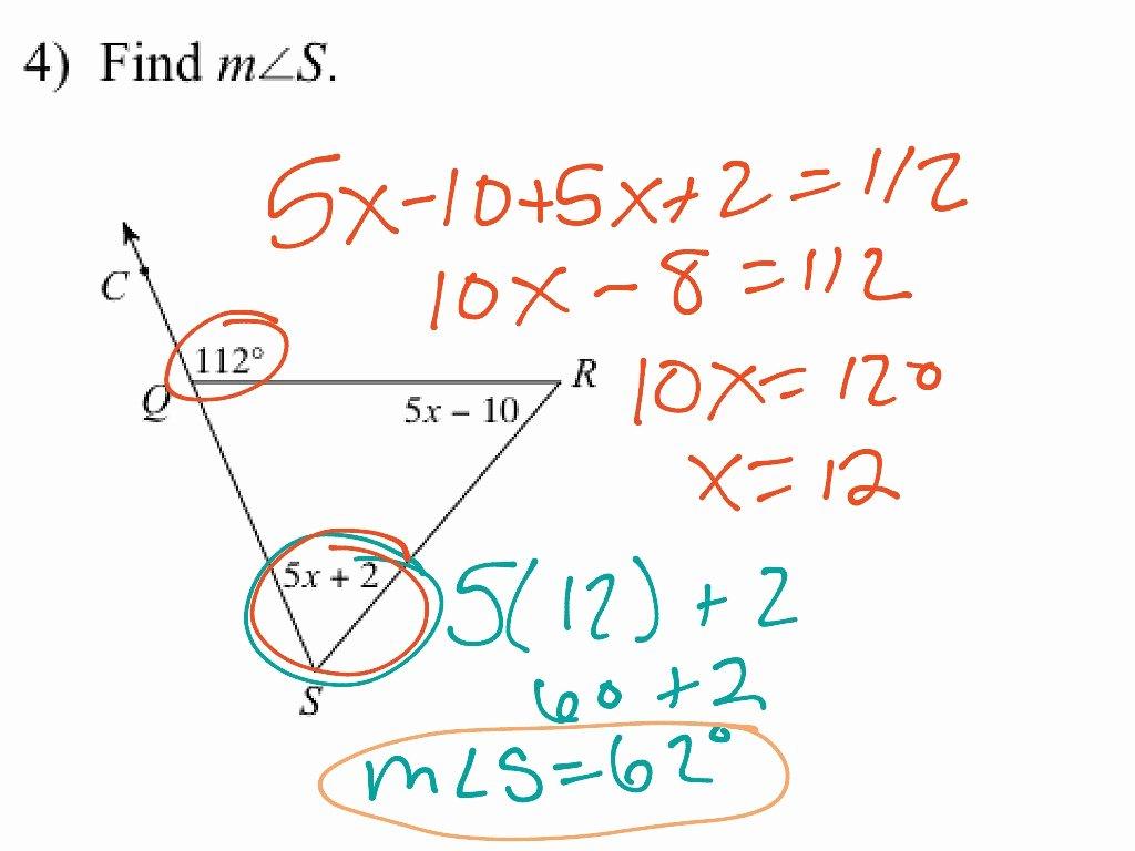 Exterior Angle theorem Worksheet Beautiful Triangle Sum and Exterior Angle theorem Worksheet
