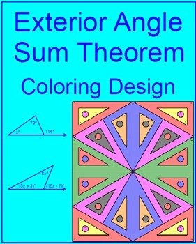 Exterior Angle theorem Worksheet Elegant Triangles Exterior Angle Sum theorem 1 Coloring Activity