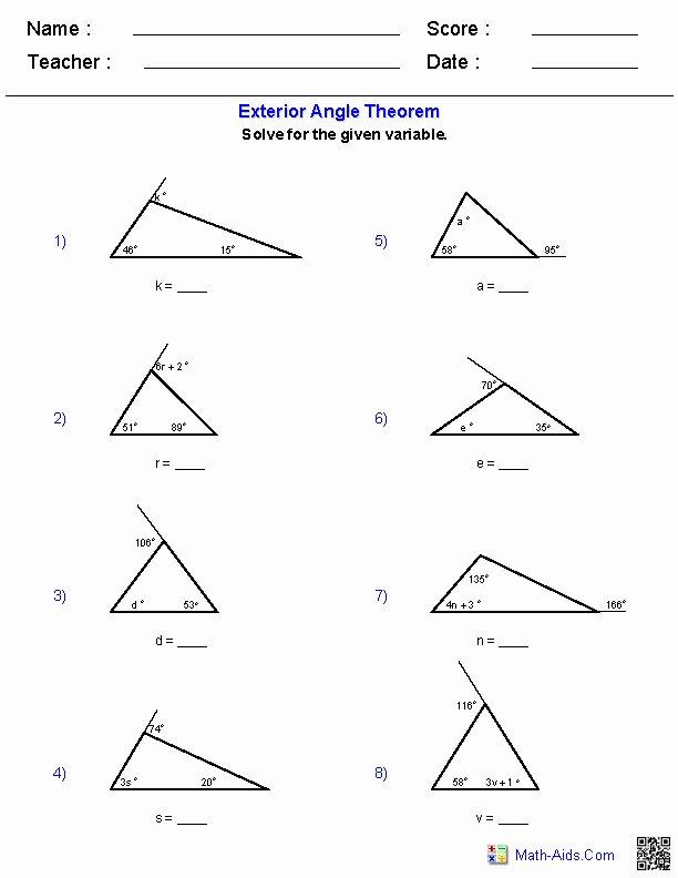 Exterior Angle theorem Worksheet Fresh Triangle Inequality theorem Worksheet