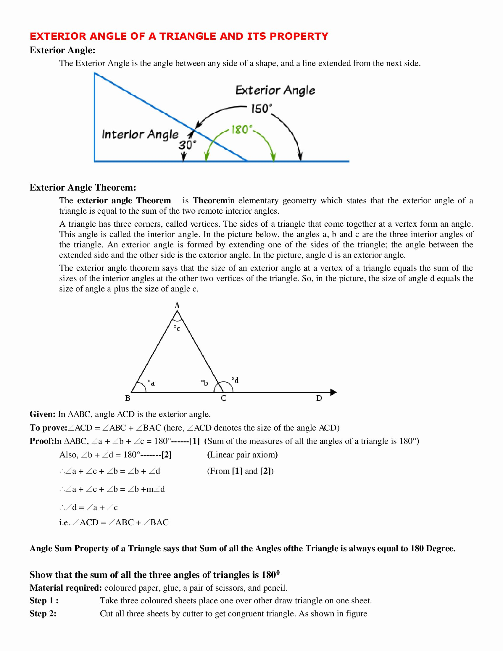 Exterior Angle theorem Worksheet Inspirational Exterior Angle Of A Triangle and Its Property Worksheet