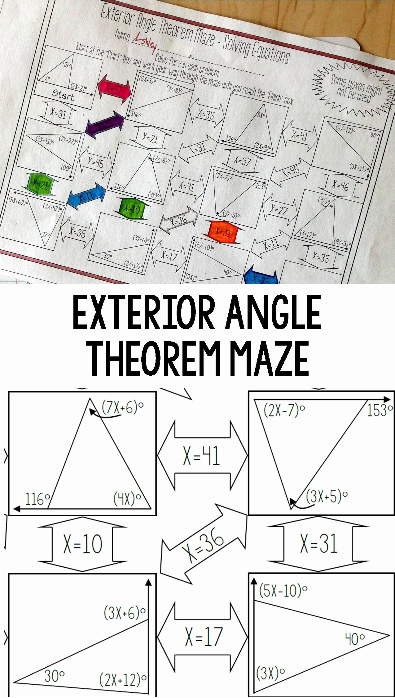 Exterior Angle theorem Worksheet Lovely Exterior Angle theorem Maze solving Equations