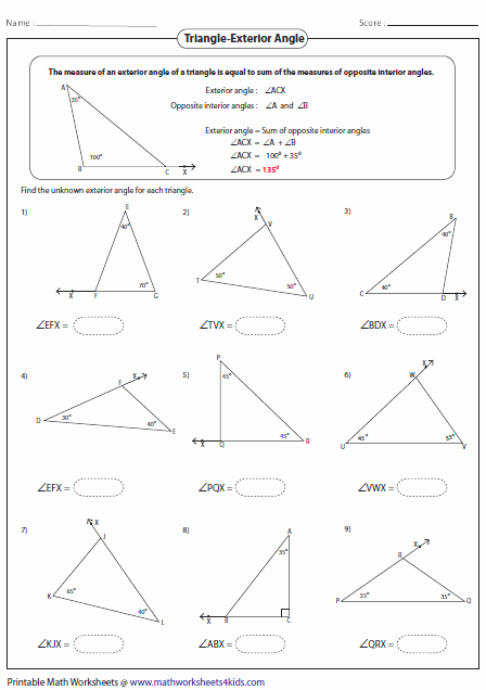 Exterior Angle theorem Worksheet Lovely Triangles Worksheets