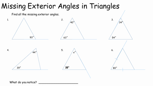 Exterior Angle theorem Worksheet Luxury Missing Exterior Angles In Triangles by Keithellingham