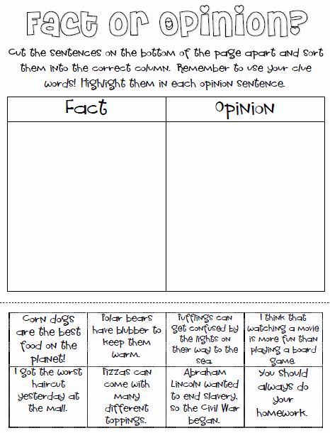 Fact or Opinion Worksheet Awesome Ginger Snaps Fact and Opinion Freebie