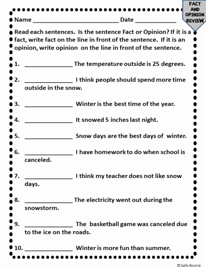 Fact or Opinion Worksheet Best Of Fact and Opinion Prehension with A Winter theme