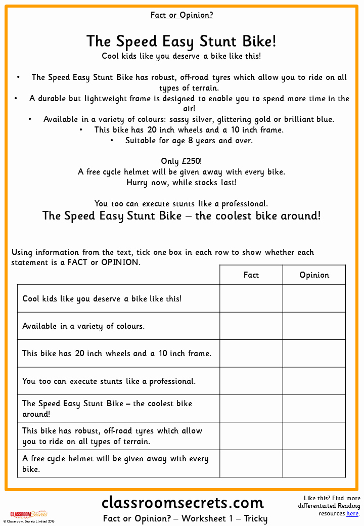 Fact or Opinion Worksheet Elegant Fact or Opinion Ks2 Reading Test Practice